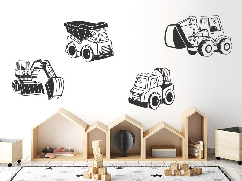 wandtattoo niedliche baustellenfahrzeuge f r jungs. Black Bedroom Furniture Sets. Home Design Ideas