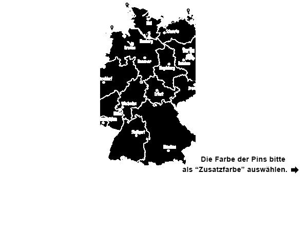 wandtattoo deutschlandkarte Wandtattoo Deutschlandkarte mit Pins | Wandtattoos.de