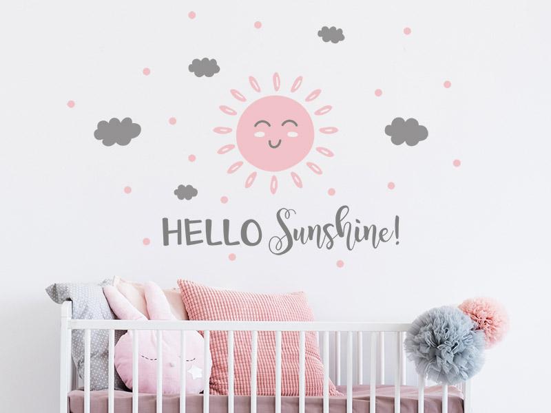 Wandtattoo Sonne Hello Sunshine Mit Punkten Wandtattoos De