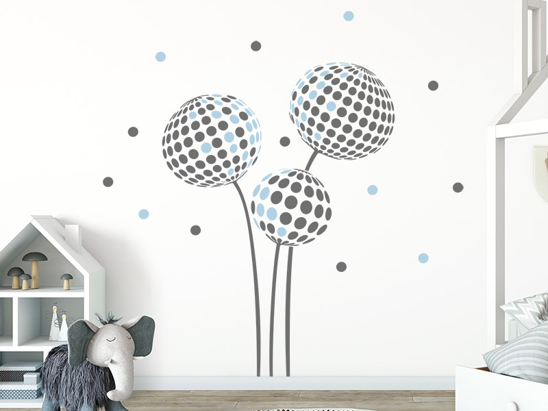 wandtattoo pusteblume dots f rs kinderzimmer. Black Bedroom Furniture Sets. Home Design Ideas