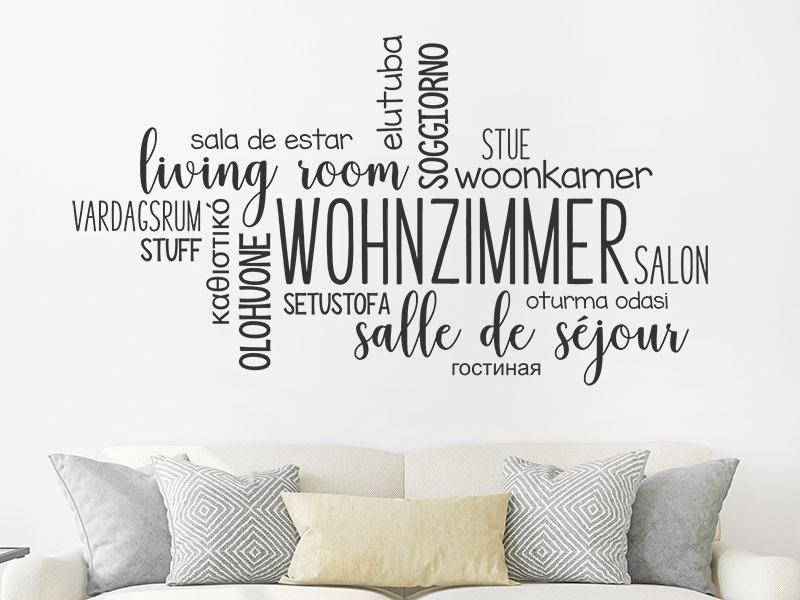 Wandtattoo Wohnzimmer Sprachen Wortwolke | Wandtattoos.de