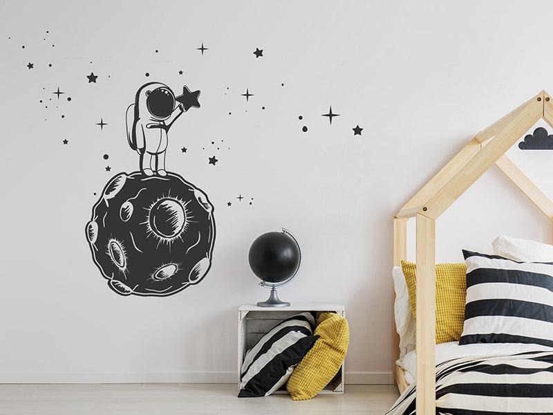 Wandtattoo Kleiner Astronaut Mit Sternen Wandtattoos De