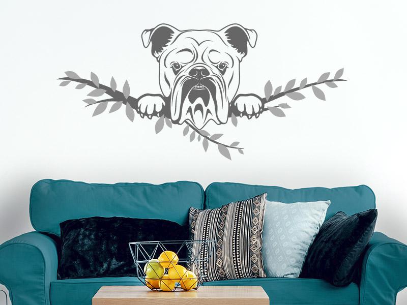 Blau Glanz Autoaufkleber oder Wandtattoo Englische Bulldogge mit W/ürstchen 25x23 cm Aufkleber in verschiedenen Farben