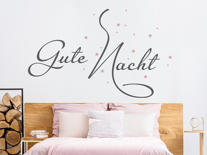 Wandtattoo Gute Nacht mit Sternenhimmel - Wandtattoos.de