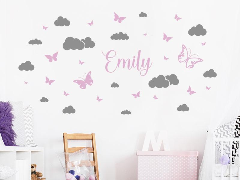 Wandtattoo Wolken Und Schmetterlinge Mit Name Wandtattoos De
