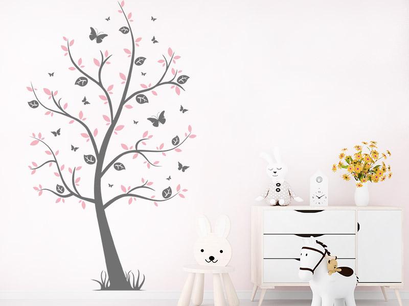 Wandtattoo Kinderbaum mit Schmetterlingen   Wandtattoos.de