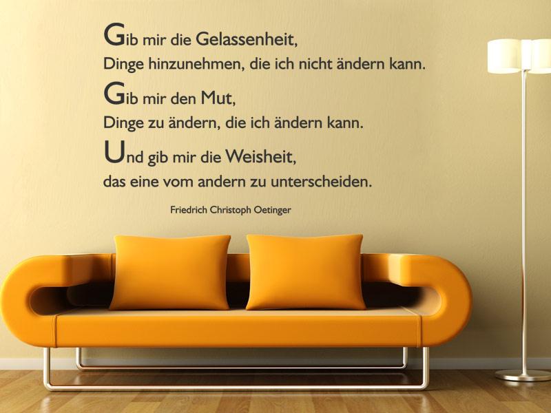 Gelassenheit Wandtattoo Zitat Oetinger bei Wandtattoos.de