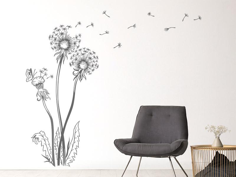 Wandtattoo Pusteblume mit Schmetterling