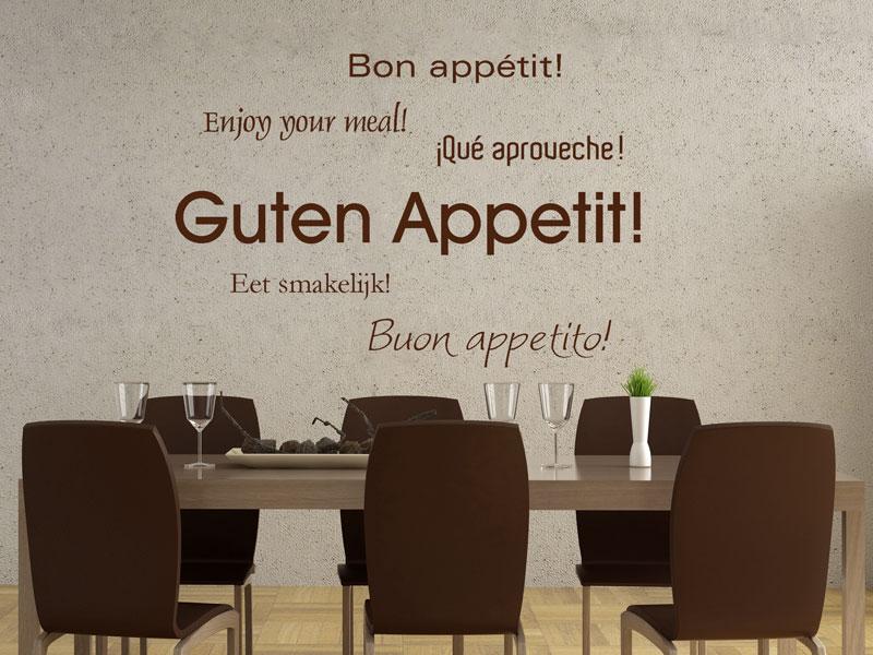 Wandtattoo Guten Appetit in sechs Sprachen | Wandtattoos.de