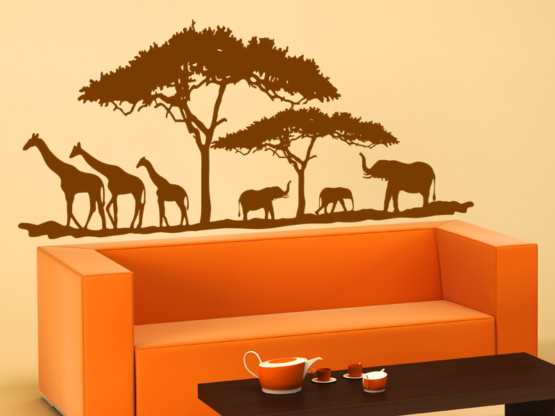 Wandtattoo afrikanische savanne for Wandtattoo afrika