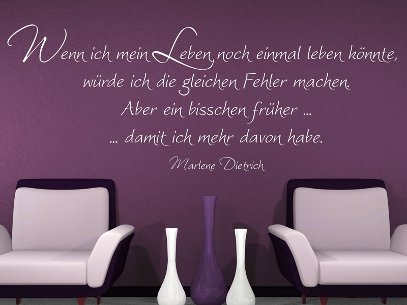 Wanddeko Wenn ich mein Leben Wandtattoo bei Wandtattoos.de