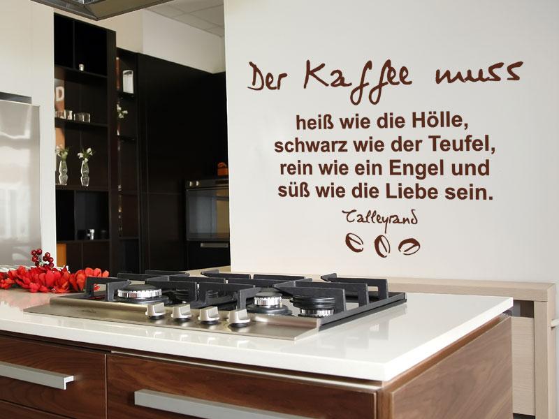 wandtattoo der kaffee muss hei wie die h lle. Black Bedroom Furniture Sets. Home Design Ideas