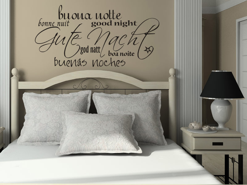wandtattoo gute nacht in 7 sprachen. Black Bedroom Furniture Sets. Home Design Ideas