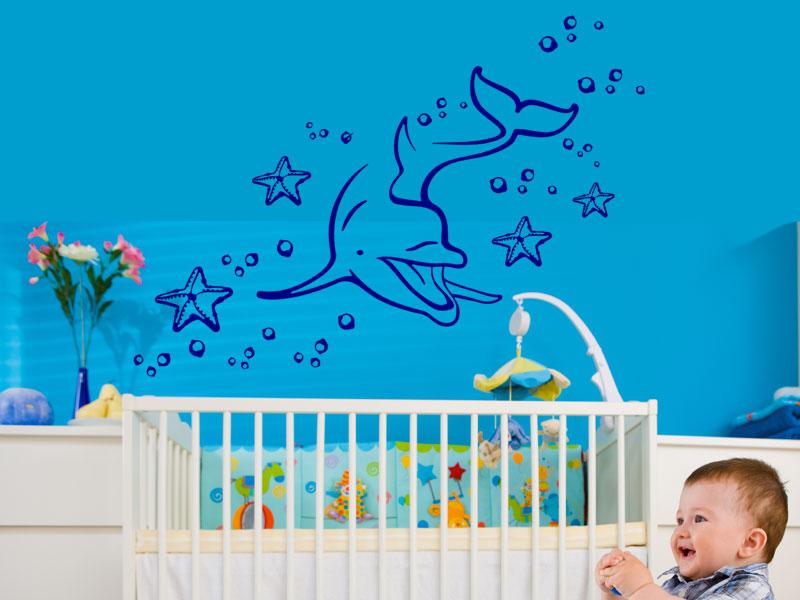 Wandtattoo unterwasserwelt mit delphin for Kinderzimmer unterwasserwelt