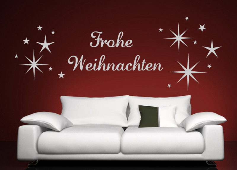 wandtattoo frohe weihnachten mit sternen. Black Bedroom Furniture Sets. Home Design Ideas