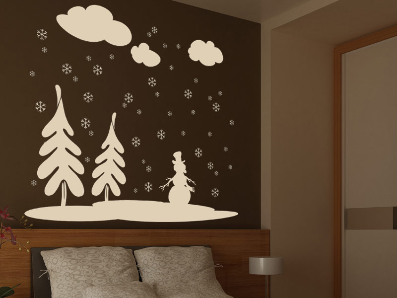 wandtattoo winterlandschaft mit schneeflocken. Black Bedroom Furniture Sets. Home Design Ideas