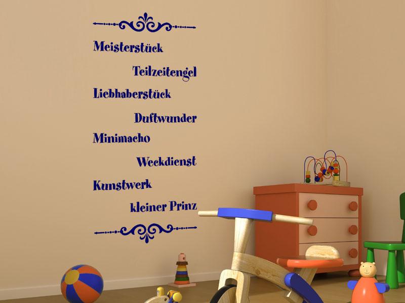 wandtattoo kleiner prinz mit ornamenten. Black Bedroom Furniture Sets. Home Design Ideas