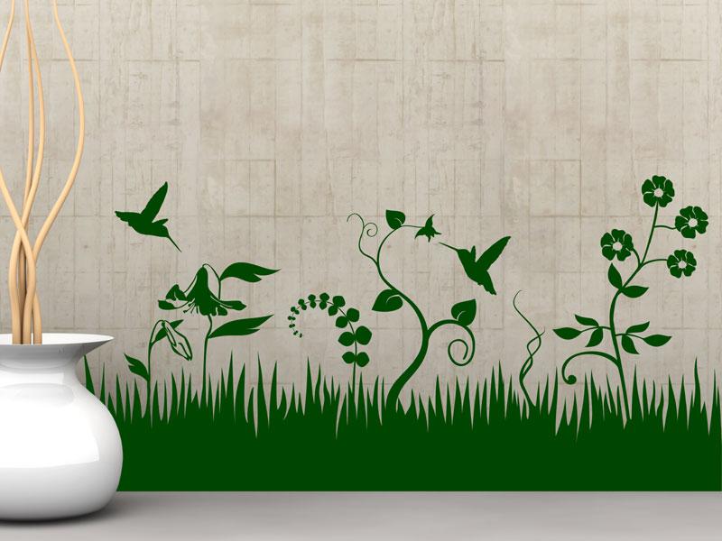 Wandtattoo Blumen Weiß : Wiese Kolibris Wandtattoo Kolibris bei Wandtattoosde