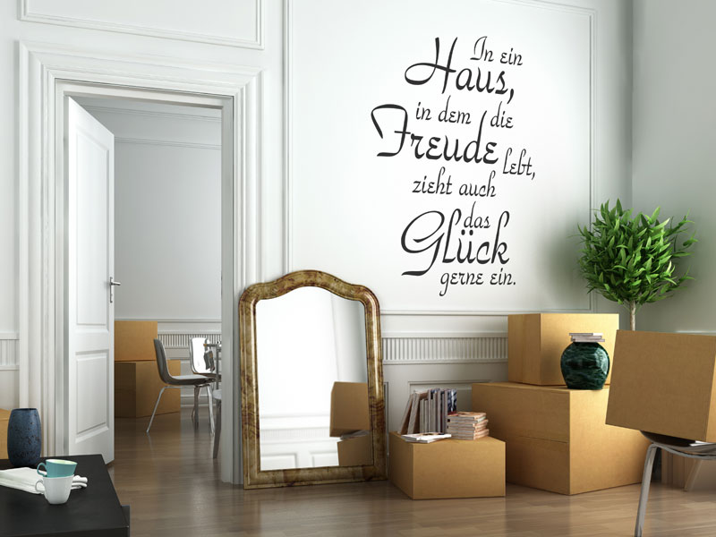 in ein haus wandtattoo spruch in ein haus von. Black Bedroom Furniture Sets. Home Design Ideas