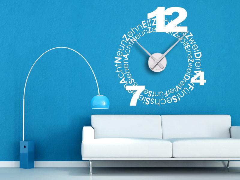 wandtattoo wanduhr schriften. Black Bedroom Furniture Sets. Home Design Ideas