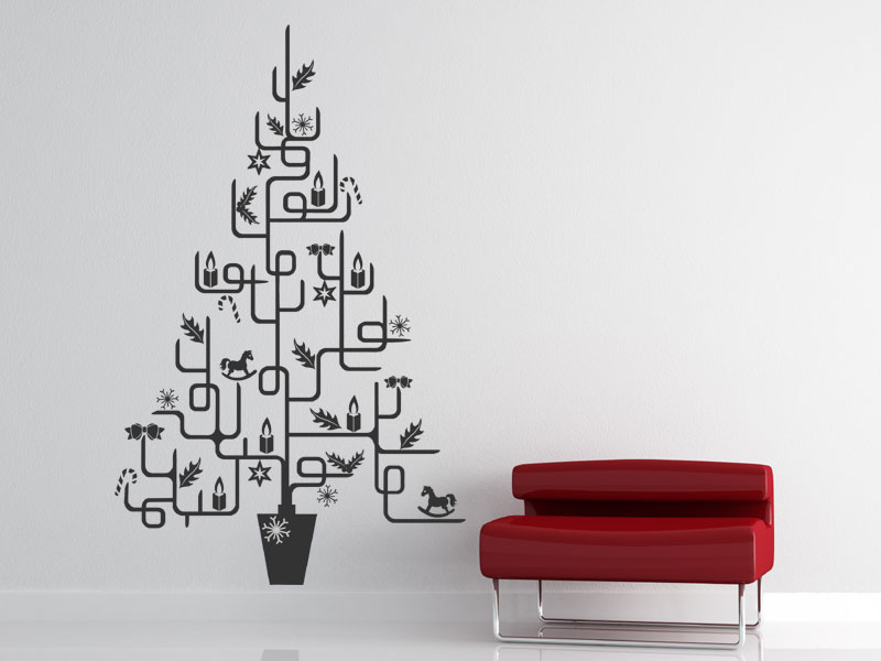 wandtattoo moderner weihnachtsbaum. Black Bedroom Furniture Sets. Home Design Ideas