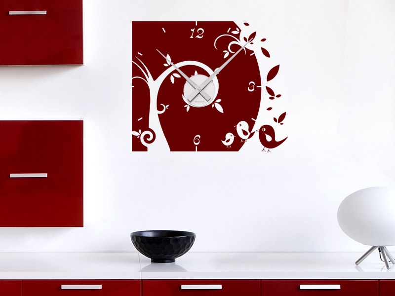 wandtattoo uhr baum mit s en v geln wanduhr. Black Bedroom Furniture Sets. Home Design Ideas
