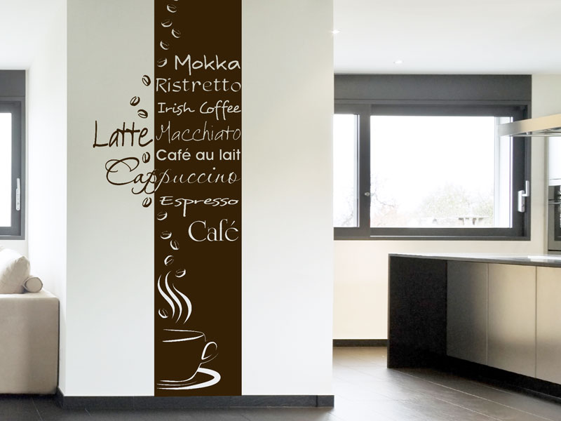 wandbanner caf wandtattoo kaffeesorten. Black Bedroom Furniture Sets. Home Design Ideas