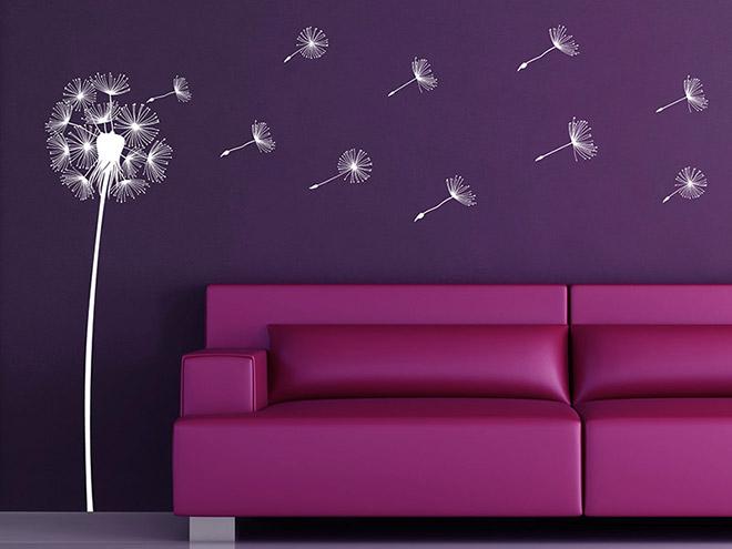 wandtattoo pusteblume im wind fliegende samen. Black Bedroom Furniture Sets. Home Design Ideas
