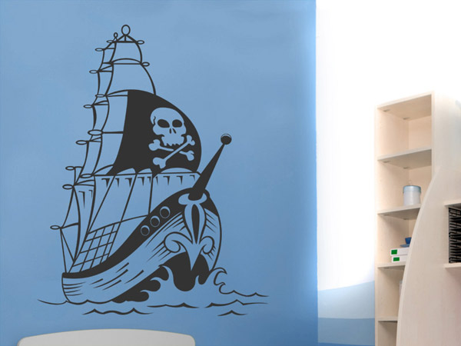 piraten segelschiff wandtattoo segelschiff pirat bei. Black Bedroom Furniture Sets. Home Design Ideas