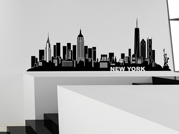 wandtattoo new york skyline silhouette ny. Black Bedroom Furniture Sets. Home Design Ideas