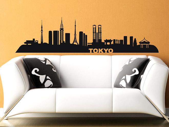 wandtattoo tokyo skyline tokio. Black Bedroom Furniture Sets. Home Design Ideas