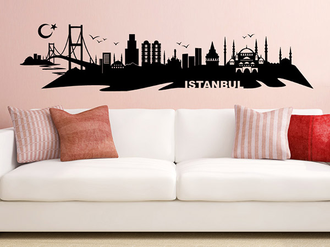 1181 0 wandtattoo istanbul skyline Städte Wandtattoos Skyline Stadt