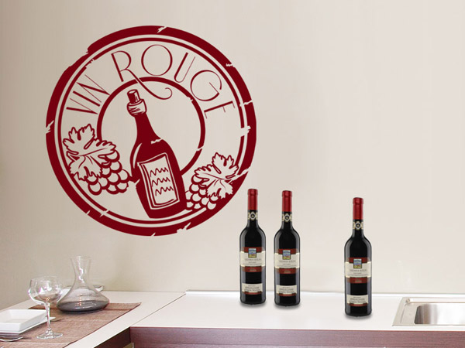 Wandtattoo button vin rouge in vintage optik - Rotwein an der wand ...
