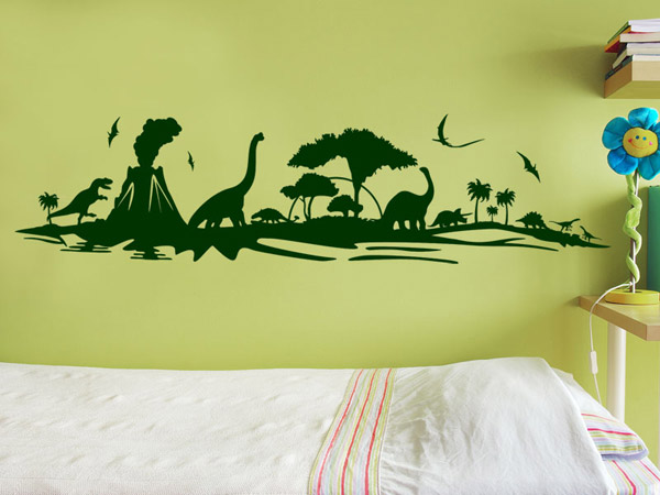 wandtattoo dino land mit dinosauriern. Black Bedroom Furniture Sets. Home Design Ideas