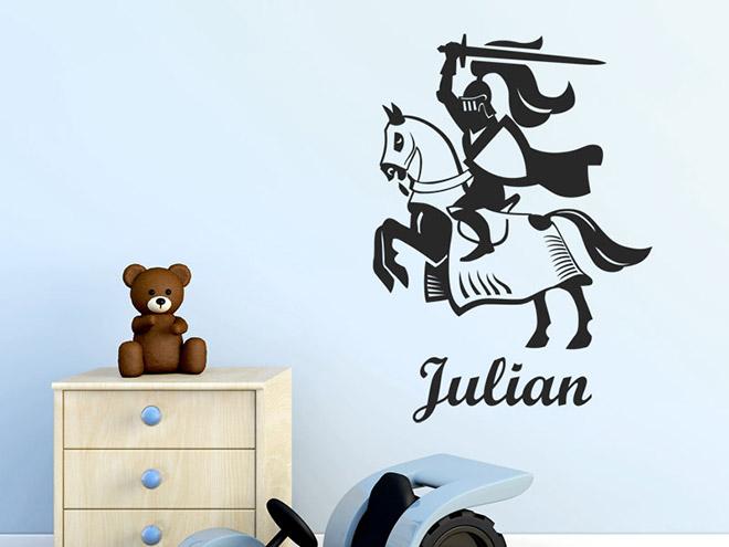 wandtattoo ritter mit name und pferd kinderzimmer. Black Bedroom Furniture Sets. Home Design Ideas