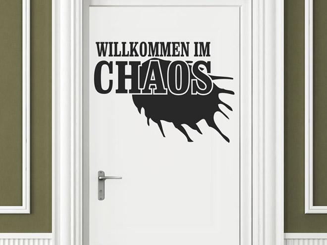 Wandtattoo willkommen im chaos wandtattoo t r teenager for Wandtattoo teenager