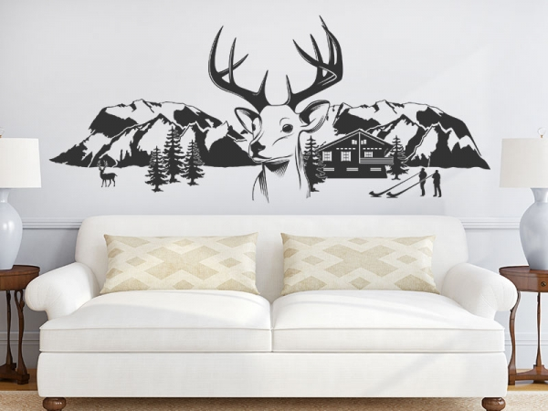 wandtattoo berglandschaft mit hirschkopf. Black Bedroom Furniture Sets. Home Design Ideas