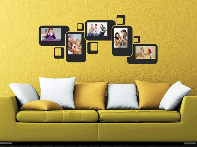 wandtattoo retro bilderrahmen f r fotos. Black Bedroom Furniture Sets. Home Design Ideas