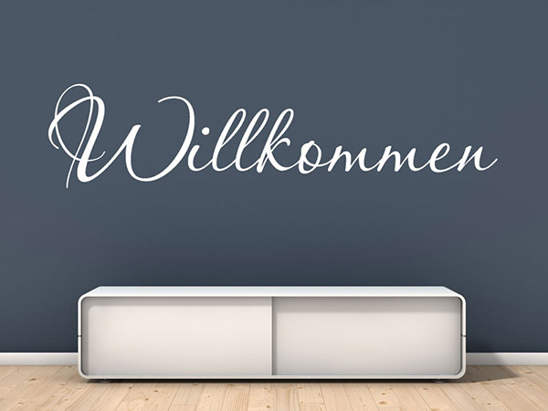wandtattoo schriftzug willkommen als begr ung. Black Bedroom Furniture Sets. Home Design Ideas