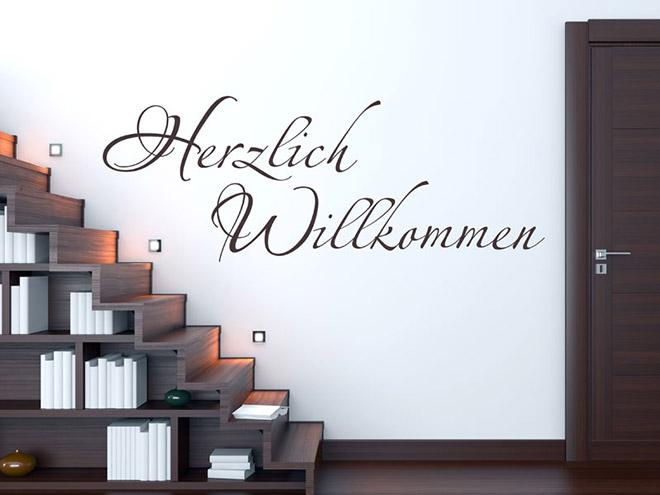 schriftzug herzlich willkommen herzlich willkommen welcome wandtattoo von. Black Bedroom Furniture Sets. Home Design Ideas