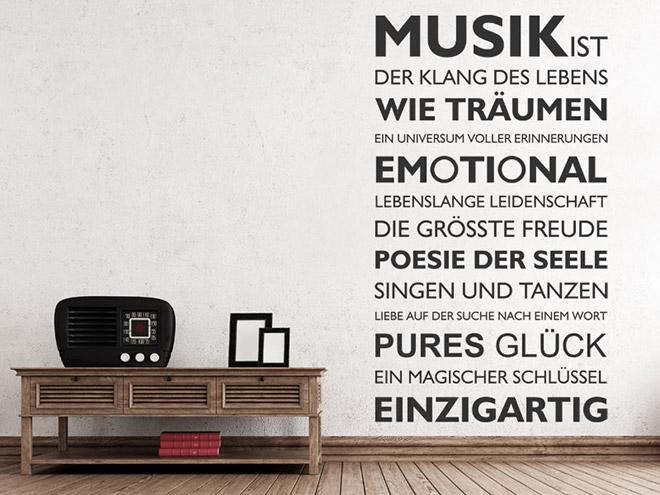 Wandtattoo musik ist