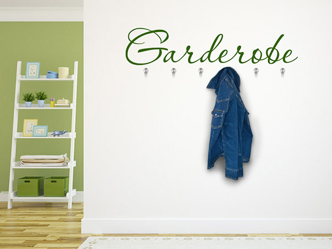 wandtattoo garderobe dekorativer schriftzug. Black Bedroom Furniture Sets. Home Design Ideas