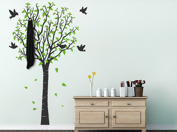 1689 0 wandtattoo garderobe baum. Black Bedroom Furniture Sets. Home Design Ideas
