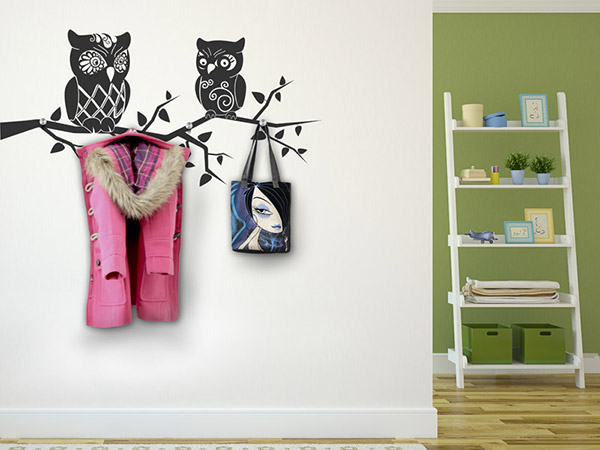 wandtattoo garderobe eulen mit wandhaken. Black Bedroom Furniture Sets. Home Design Ideas