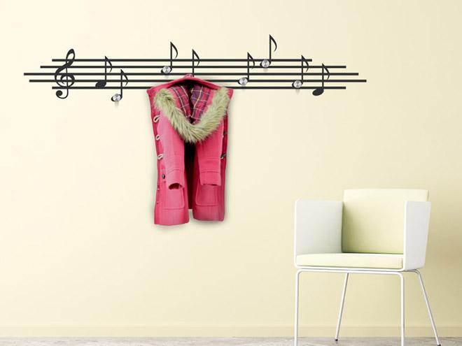 wandtattoo garderobe musik noten mit wandhaken. Black Bedroom Furniture Sets. Home Design Ideas