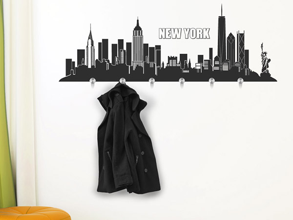wandtattoo new york kleider wandtattoos garderoben skyline bei. Black Bedroom Furniture Sets. Home Design Ideas