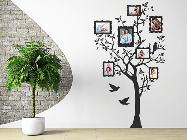 wandtattoo foto baum mit fotorahmen wandtattoo foto baum. Black Bedroom Furniture Sets. Home Design Ideas