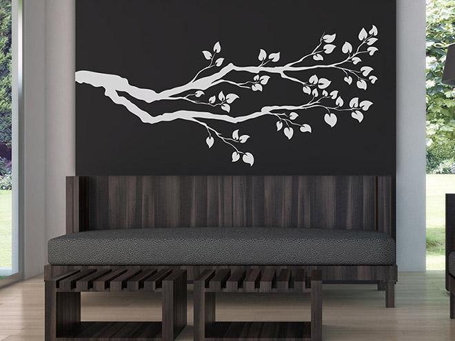 wandtattoo ast mit bl ttern und zweigen. Black Bedroom Furniture Sets. Home Design Ideas