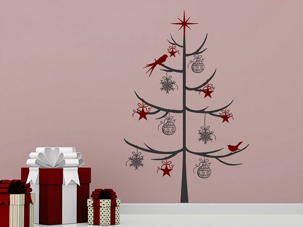zweifarbiger weihnachtsbaum wandtattoo weihnachten bei. Black Bedroom Furniture Sets. Home Design Ideas