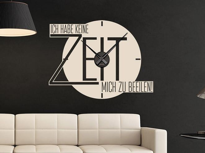 spruch wandtattoo uhr keine zeit wanduhr ziffern gro. Black Bedroom Furniture Sets. Home Design Ideas